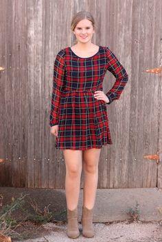 Wish List Dress - $39 >>> plaid dress with criss cross back