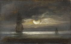 Peder Balke - TWO SAILING BOATS BY MOONLIGHT, 1843, oil on canvas, 8.5 x 13cm