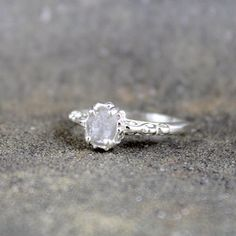 Raw Uncut Rough Diamond Solitaire and 925 Sterling by ASecondTime