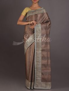 Manya Dusky Brown Printed Silk With Contrast Work Border #ChikankariSilkSaree