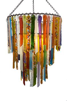Multi coloured vibrant recycled glass chandelier 'Rhapsody'.  Lovers Lights
