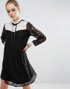 Image 1 of Reclaimed Vintage Mini Dress In Lace With Contrast Bib & Tie Neck