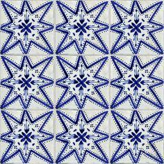 Joie Blue Mosaic House Hand Painted Tile - Willa's bath (4x4)