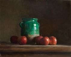 Still Life with confit pot and apples   A Still Life painting by British Artist Julian Merrow-Smith