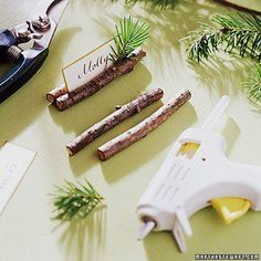 Easy placecard holders for dinner parties, holidays and weddings made from small tree branches