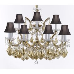 Gallery Maria Theresa Chandelier With GoldenTeak Crystal and Shades
