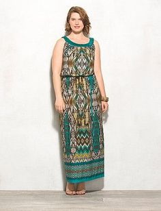 29df6e7bbcc Plus Size Tribal Print Maxi Dress Dress Barn Dresses