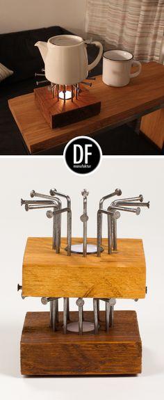 Entdecke einzigartige Wohnaccessoires wie unser Stövchen clavo jetzt in der D&F manufaktur unter www.dfmanufaktur.de #holzdesign #industrialdesign