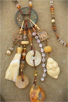 Maggie Zee Urban Amulets earth goddess assemblage necklace Recycled Jewelry, Boho Jewelry, Wire Jewelry, Jewelry Art, Pendant Jewelry, Jewelry Crafts, Beaded Jewelry, Jewelry Necklaces, Bracelets