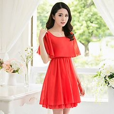 Chiffon flutter sleeve a-line dress. This casual summer dress is so light and breezy. It's simple and chic. Get it for an affordable price in white, black, light blue, pink or red.