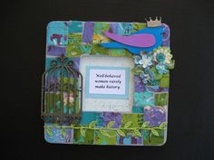 Paint frame, personalize with hot glue gun some of your favorite embellishments to the frame, add your favorite quote or picture & voila!