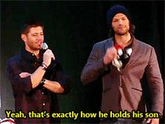 Jensen teasing Jared about his parenting skills . . .(gif)