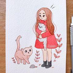 – Every Cat is here Pencil Art Drawings, Doodle Drawings, Easy Drawings, Doodle Art, Drawing Sketches, Cartoon Kunst, Cartoon Art, Art Du Croquis, Art Mignon