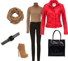 """Red Leather Jacket + tan"" by bia-bee on Polyvore"