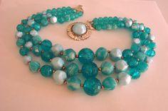 60s Vintage Bead Bid Necklace Turquoise Teal / Blue / by JoysShop