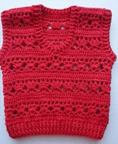 Red crochet vest with free standard - Crochet Works Crochet Baby Jacket, Crochet Vest Pattern, Crochet Baby Clothes, Free Pattern, Crochet Patterns, Crochet For Boys, Easy Crochet, Crochet Top, Baby Shower Outfit For Guest
