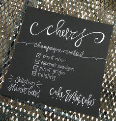 Chalkboard Menu Calligraphy Wedding Signs