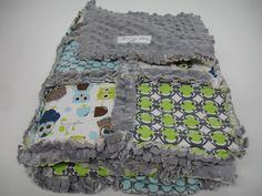 Modern Owls Patchwork Minky Rag Quilt 34 x 34  by KBExquisites, $65.00