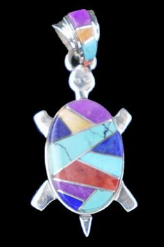 Navajo Calvin Begay Native American Indian jewelry turtle pendant inlay -MXW92