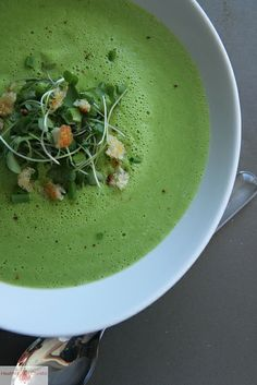 Fresh Pea Soup ... I can't think of anything more appropriate for the first day of spring.