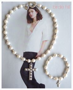 Freshwater pearl cross necklace and bangle set