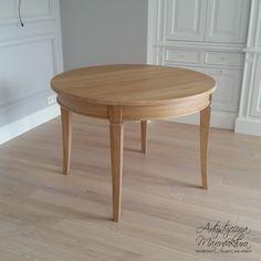 dębowy stół rozkładany, oak table, round wooden table - projekt, wykonanie Artystyczna Manufaktura