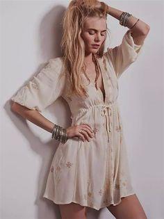 Beige V Neck Tribal Embroidered Dress - Sheinside.com