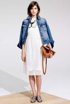 White dress, denim jacket- spotted in the @Madewell Spring lookbook