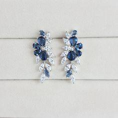 Blue Flower Earrings Bridal Earrings Cubic by Mi2Jewellery on Etsy