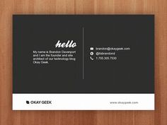 Brandon Davenport biz card. We really love the minimalistic approach to this business card.