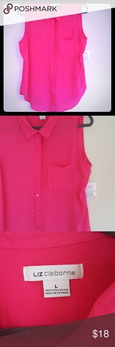 Liz Claiborne Sleeveless Blouse NWT, Luau Pink button blouse, single pocket on left  Measurements Shoulder to bottom (longest point) -  27' Across widest point - 21.2' Liz Claiborne Tops Blouses