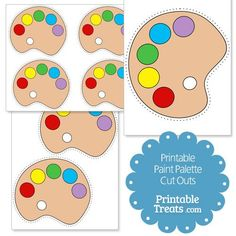 """Here are some printable paint palette cut outs you can use for your arts-themed crafts, cards, and scrapbook pages. These printable paint palette cut outs have a tan """"wood"""" part and red, Artist Birthday, 7th Birthday, Birthday Party Themes, Paint Themes, Palette, Art Party, Art Classroom, Art Plastique, Creations"""