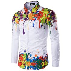 New Autumn Fashion men Shirts Printing Colorful ink Shirt Long Sleeve Men Hip Hop Shirt camisa masculina Shirt men