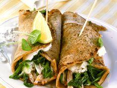 Wraps gefüllt mit Putenschinken und Spinat   Zeit: 40 Min.   http://eatsmarter.de/rezepte/wraps-gefuellt-mit-putenschinken-und-spinat