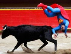 Superman-costumed bullfighter Pedro Sanchez flips near a calf at the Plaza de Toros La Macarena in Medellin, Funny Sports Pictures, Funny Animal Pictures, Funny Images, Funny Photos, Cool Photos, Vintage Funny Quotes, Cute Funny Quotes, Sri Lanka, Monkey Pictures
