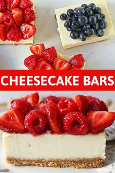 How to make creamy cheesecake bars with a buttery graham cracker crust and fresh berries. Best Dessert Recipes, Fun Desserts, Delicious Desserts, Graham Cracker Crust, Graham Crackers, Pinterest Recipes, Pinterest Food, Cheesecake Bars, Baking Recipes