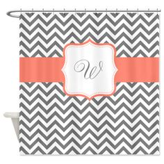 Personalized Gray Coral Chevron Shower Curtain