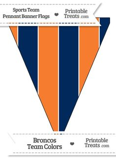 Broncos Colors Pennant Banner Flag from PrintableTreats.com