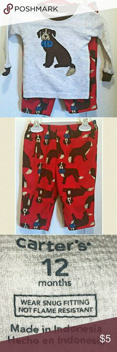 Two piece doggy pj's by Carter's Carter's size 12 months. Shirt: 60% cotton 40% polyester. Machine wash cold inside out, tumble dry medium. Pants: 100%polyester, machine wash cold inside out, tumble dry low. EUC. Carter's Pajamas Pajama Sets
