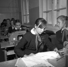 Soviet school. Girls sewing class.