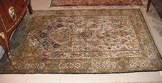 GHOM silk, prayer rug. White Mihrab, lavishly decorated with plants and animals…