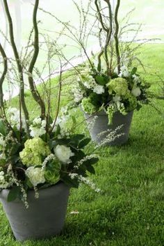 simply beautiful white and green flowers with curly willow