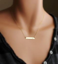Personalized Nameplate necklace, Gold Name plate Bar Necklace, Monogram jewelry, Celebrity Initial necklace, Hand-stamped name, Gold filled on Etsy, $31.00