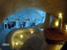 Inside one of the igloos in the Swiss village made of snow.  It looks like a Resturant.