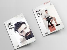Papillion is a mens' fashion magazine designed in the frames of student work of AKTO college. The name and logo created from scratch. Format 21x29,7 Simple, clean layout and bright photos. The first five covers and some of the inside pages of the first issue designed, based on the above..