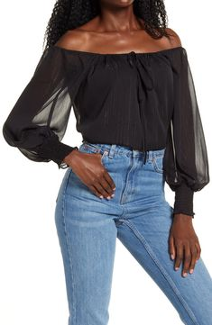 x BFF Sarah Metallic Off the Shoulder Top