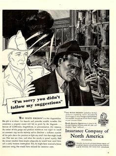 1940 Firefighter Insurance Company of North America Original Print Ad Large Single Ad - Between 10 x 13 to 11 x 14 inches, suitable for framing.