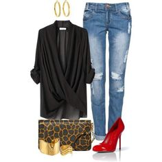 Black, Gold, Leopard, Red, Light Blue Jeans Outfit