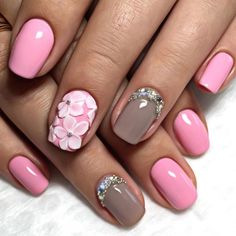 Pastel pink and nude coffee gloss with 3D acrylic art and Swarovski crystal.  by thenailbarsydney http://ift.tt/1NRMbNv