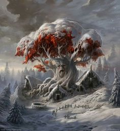 White Tree by Sergey Glushakov (DinoDrawing).  Created for the expansion of the Game of Thrones Card Game (Fantasy Flight Games)